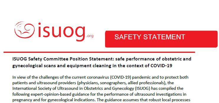 ISUOG biztonsági nyilatkozat - COVID-19